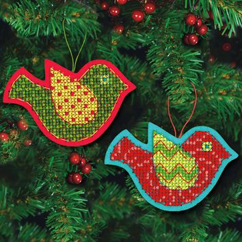"Jolly Bird Felt Ornaments (9 Count) Dimensions Counted Cross Stitch Kit 5""X3.5"""