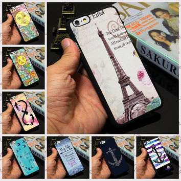 2016 Brand New Mobile Phone Cover Eiffel Tower Sunflower Infinity Anchor Quote Case for Apple iPhone 7 4 4s 5 5s 5c 6 6s plus