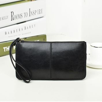 2018 women's Cattle Split Leather  long design wallet female day clutch oil cowhide  bag