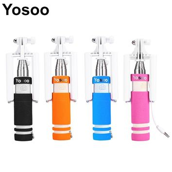 Mini Handheld Extendable Selfie Sick Wired Monopod Camera Tripod Phone Holder SelfStick For SmartPhone