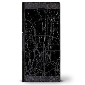 Kyoto Streets Map | Leather Series case for iPhone 8/7/6/6s in Hickory Black