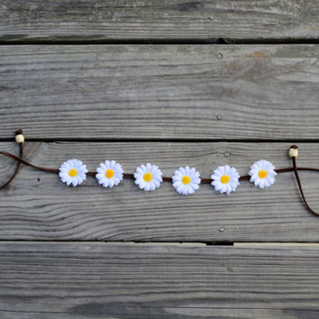 Daisy Crown Flower Halo Floral Crown Gypsy Crown Coachella Festival Crown EDC EDM Daisy Halo Bohemian Headband Hippie Headpiece Headwrap