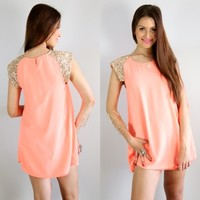 PEACH SWING SHIFT PARTY DRESS GOLD SEQUIN SHOULDERS 6 8 10 12