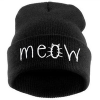 New Brand 2014 Winter Hats for Women Letters Printed Beanies MEOW Hip-Hop Cotton Knitted Hat Casual Skullies Bonnet Men Chapeu