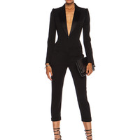 Cigarette Tuxedo Virgin Wool Jumpsuit in Black