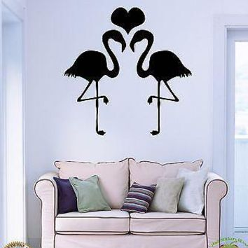 Vinyl Decal Wall Stickers Birds Flamingo Heart Romantic Decor For Bedroom Unique Gift (z1692)