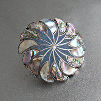 Taxco Sterling Abalone  Pendant Brooch, Pinwheel, Mexican Inlaid Crushed Turquoise, Eagle Assay 3