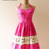 Music Lover Hot Pink Dress Retro Party Cocktail Bridesmaid Choir Birthday Concert Event Every Day Dress -Size XS,S,M,L,CUSTOM-