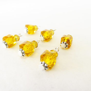 6 Pcs. Yellow Crystal Charms - Dark Yellow Crystal Cube Bead Charms - Handmade DIY Jewelry Parts / Supplies - Crystal Square Beaded Charms