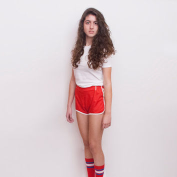 Dead stock Vintage sport Shorts Red White high waist Size XS