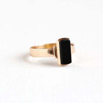 "Antique Victorian 14k Rose Gold Onyx Ring - Vintage Late 1800s Size 12 Black GemStone Fine Mens Jewelry, Engraved ""Grandpa"""