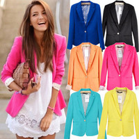 New Fashion Womens Candy Color Basic Slim Foldable Suit Jacket Blazer 6 Colors