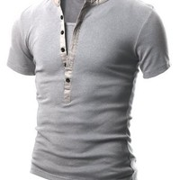 Doublju Mens Henley T-shirts with Short Sleeve GRAY (US-XL)
