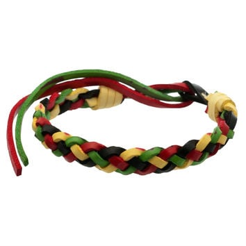 Rasta Braided Leather Adjustable Bracelet