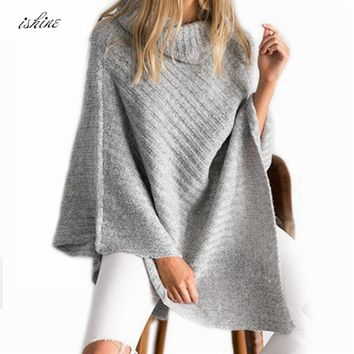 Cheap Autumn Loose Knitted Turtleneck Pullovers Poncho Sweater Women Vintage Gray Sweater Poncho Winter Gary Thick Sweater Shawl