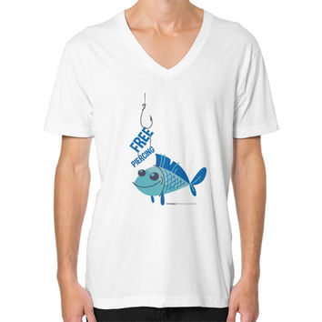 Blue Fish V-Neck (on man)