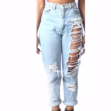 Womens Destroyed Denim Ripped Hole High Waist Jeans Pants Pencil Trousers
