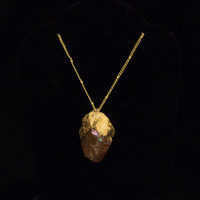 Gold Dipped Rose Gold Crystal Pendant, Gold Chain, Pink Crystal Quartz, Handmade necklace