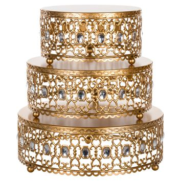 3-Piece Metal Cake Stand Risers Set with Crystal Rhinestones (Gold)