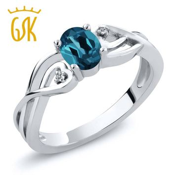GemStoneKing 0.51 Ct Oval Natural London Blue Topaz White Diamond 925 Sterling Silver Engagement  Ring For Women