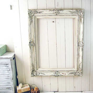 Rustic Cream Frame, Antique Cream Large Vintage Frame, Shabby Chic Frame, Wedding Frame, Farmhouse Off White Wooden Frame, Nursery Frame