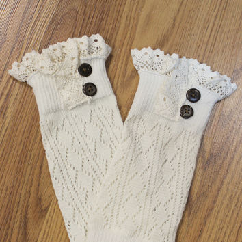 Lace Trim Boot Cuffs, Cream