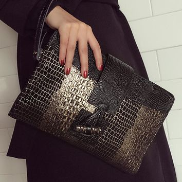 Genuine Leather Women Clutch Bag\Handbags New Fashion Crocodile Envelope Shoulder Bag\Messenger Bag Evening Bag