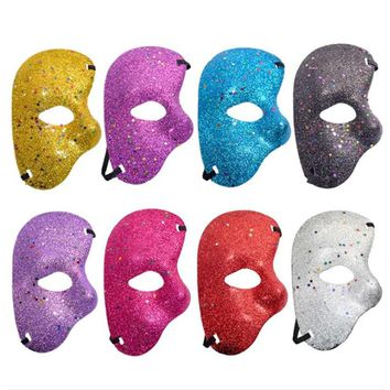 Halloween party plastic half face mask opera phantom gold powder mask Halloween rave party masquerade phantom dance