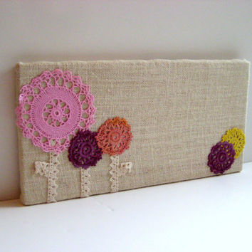 Bulletin Board made from Burlap and Lace with vintage embroidered doily flowers, Photo Memo pin Board, girl decor