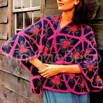 Instant Download PDF Fabulous Triangle Shawl Vintage Crochet Pattern Motif Granny Squares Granny Boho Chic Party Resort Fun Festival Beso