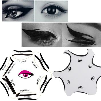 1pcs 6 In 1 Makeup Eyeliner Stencil Kit Model Cat Fish Tail Double Wing Stencils Template Makeup Card Professional Eye Cosmetics