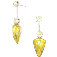 Gold Gemstone Crystal Statement Earrings