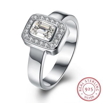 925 Sterling Silver Ring Simple square flat ring boutique elegant jewelry diamond