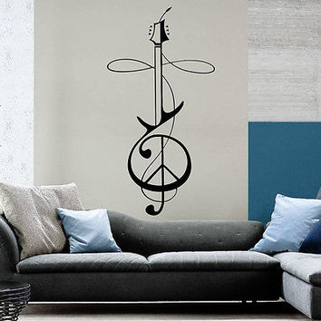Wall Decal Rock Electric Guitar Musical Instrument Music Boy Bedroom Decor OS215