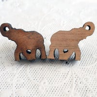 Eco friendly. Elephant Sustainable engraving Wooden studs Earrings- jewelry