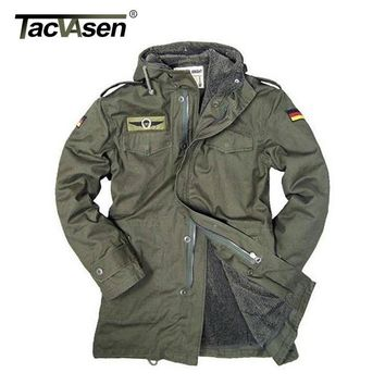 TACVASEN German Army Military Jacket  Men Winter Cotton Jacket Thermal Trench with Hood Jackets Fleece Lining Coat TD-BJQS-002
