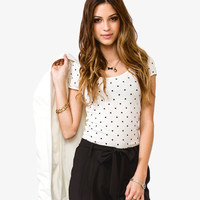 Polka Dot Ruched Sleeve Top