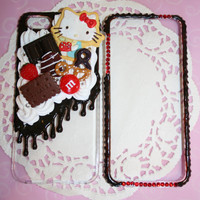 Kawaii Red and chocolate kitty sweets iphone 5 decoden phone case