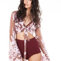 Maple Lace Crop Rosewood