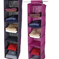 College Storage Necesity - 6 Shelf Closet Organizer - Pewter & Orchid
