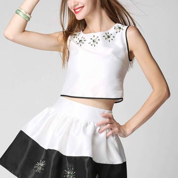 White Beaded Sleeveless and Skirt Set