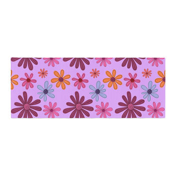 """Jane Smith """"Woodland Floral"""" Purple Flowers Bed Runner"""