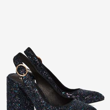 Shellys London Chester Glitter Heel - Black