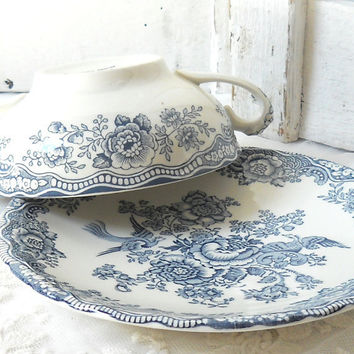 vintage soup cup and saucer, Crown Ducal Bristol Grey, vintage soup bowl, plate, ironstone, shabby chic, cottage chic