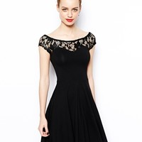 New Look Lace Yoke Skater Dress