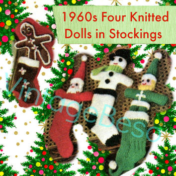 Santa KNITTING Pattern Vintage 1960s Christmas Stocking Soft Toy Dolls Snowman Elf Gingerbread Boy Man Gift Instant Download PDF Pattern