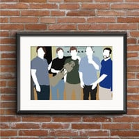 The League Poster - Taco, Pete, Kevin, Andre, Ruxin Poster - The League Print - Nick Kroll Paul Scheer - Fantasy Football Geek Gift TV