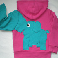 Toddler girls zip front hoodie, hooded sweatshirt, pink with turquoise elephant trunk sleeve, elephant back, 24 months, 4T, 5T
