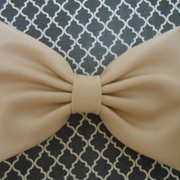 Latte Satin Hair Bow, Blue GirlsHair Bow, Fabric Hair Bow, Hair Accessory, Satin Bow