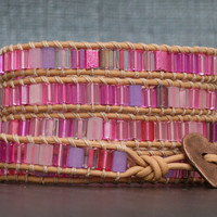 READY TO SHIP wrap bracelet - pink tile beads on peach leather - beaded wrap - heart jewelry - bohemian